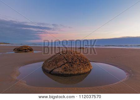 Moeraki Boulder Closeup At Low Tide, Koekohe Beach, New Zealand