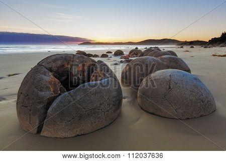 Unreal Moeraki Boulders At Low Tide, Koekohe Beach, New Zealand
