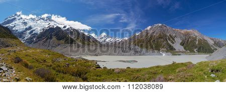 Hooker Glacial Lake Panorama With Mount Cook In The Distance