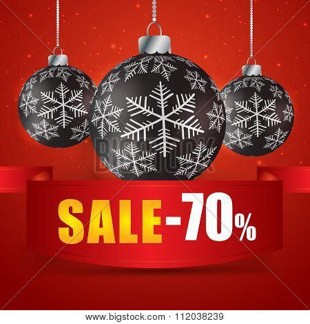 Winter Sale 70 Percent. Winter Sale With Red Background. Sale. Winter Sale. Christmas Sale. New Year