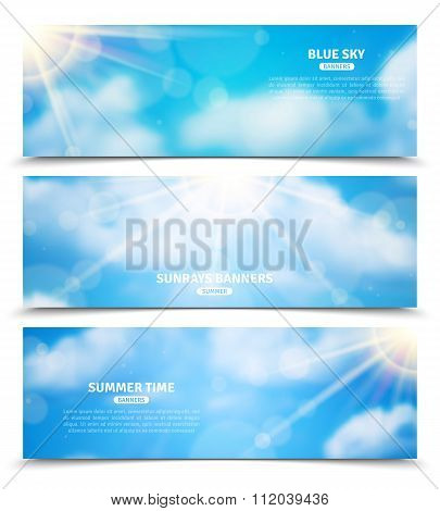 Sun through clouds sky banners set