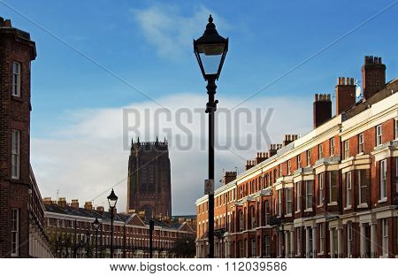 Georgian Houses In Liverpool Uk, With Liverpool Cathedral In The Distance