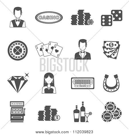 Casino Black White Icons Set