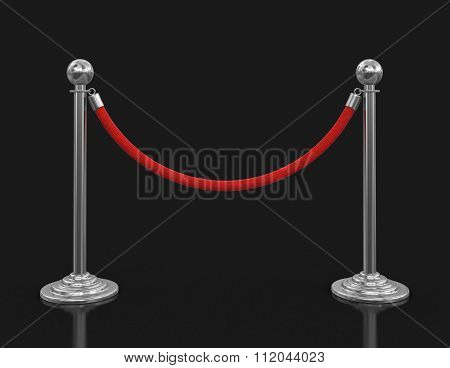 Chrome Stanchions with rope. Image with clipping path