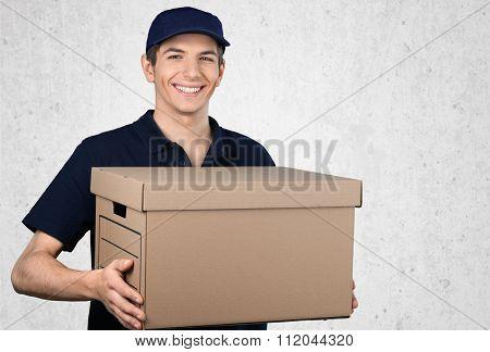 Delivering Shipping Package Postal Worker Box Messenger Men poster