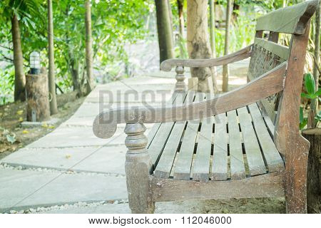 Wooden Benches In A Pedestrian Rest Area