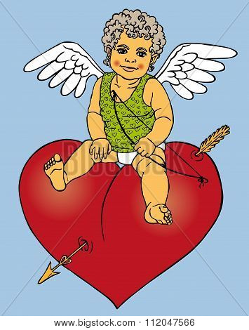 Cupid Sitting On Red Heart