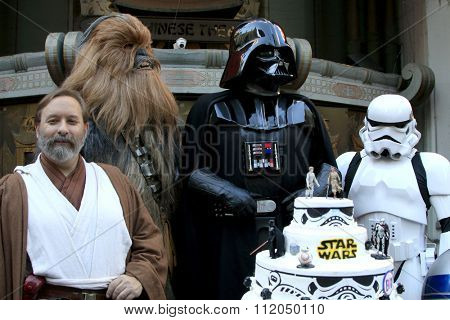 LOS ANGELES - DEC 17:  Obi Shawn Crosby, Chewbacca, Darth Vader, Storm Trooper at the Australian Star Wars fans get married  at the TCL Chinese Theater on December 17, 2015 in Los Angeles, CA