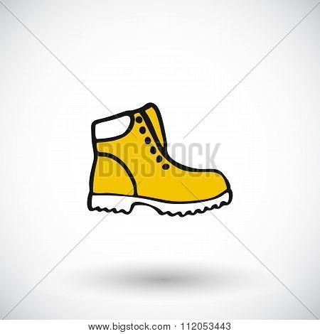 Shoe sketch. Hand-drawn cartoon apparel icon, lumberjack shoes. Doodle drawing.