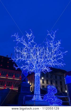 The Blue Tree On Place Gutenberg At Christmas Market In Strasbourg.