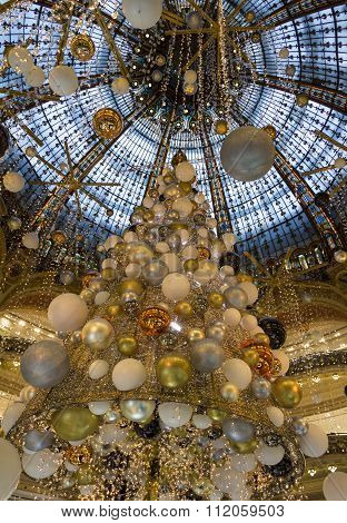 The Christmas Decoration At Shopping Center Galeries Lafayette.