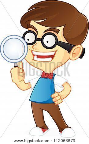 Nerd Geek holding magnifying glass
