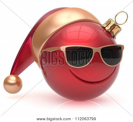 Christmas Ball Emoticon Smiley Face Eyeglasses Adornment Red