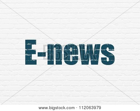 News concept: E-news on wall background