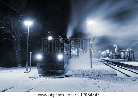 Steam Locomotive Ready To Go In Snow Storm, Germany