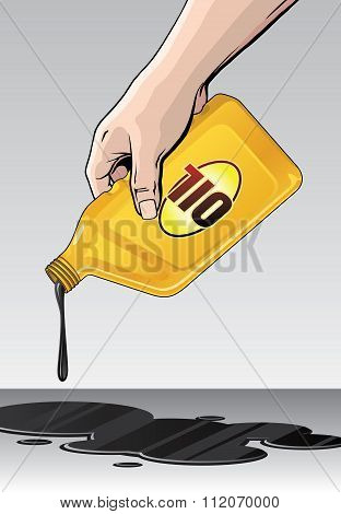 Illustration of someone spilling or pouring oil from a yellow quart size motor oil container.