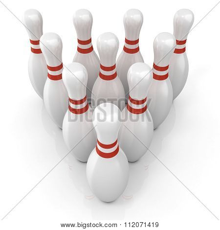 Bowling pins with red stripes grouped