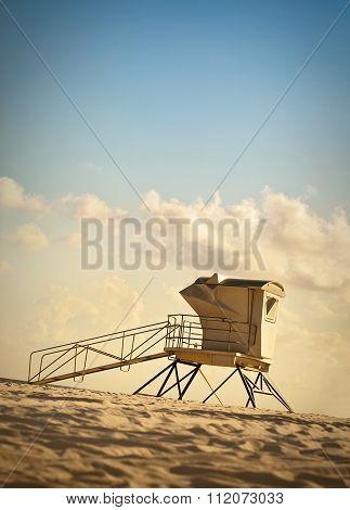 Lifeguard Station At Dusk