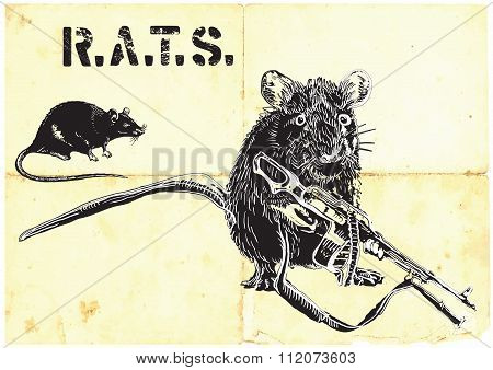 Rats, Rat With Gun - Freehand Drawing, Vector