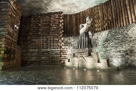 Krakow, Poland -  13 December 2015 : Nicolaus Copernicus Salt Statue In Wieliczka Salt Mine On 13 De