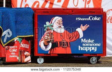 Coca-cola Christmas Display And Santa Claus