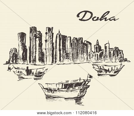 Doha skyline Dhow Qatar illustration drawn sketch