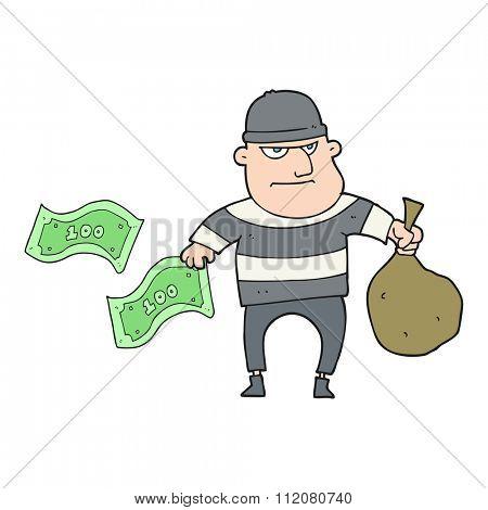 freehand drawn cartoon bank robber