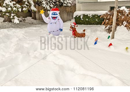 Snowman And Reindeer Yard Decorations