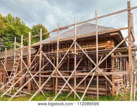 Reconstruction Of Old Wooden House In Russian Village