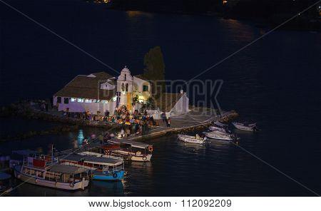 Evening Scene Of Vlacherna Monastery And Pontikonisi Island, Kanoni, Corfu, Greece