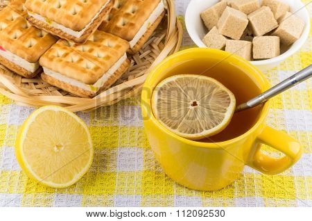 Cup Of Tea With Lemon, Bowl Of Lumpy Sugar
