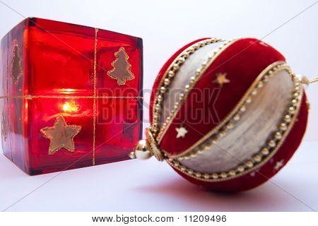 Christmas ball and candle holder