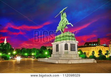 Statue Of Archduke Karl-ludwig-john On Heldenplatz. Vienna. Austria.