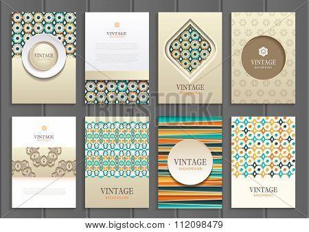 Stock vector set of brochures in vintage style