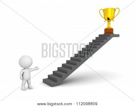 3D Character Showing Stairs And Golden Trophy