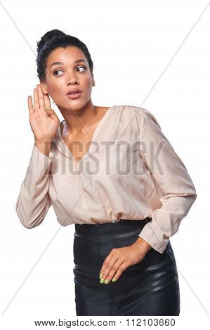 Business woman listening to gossip