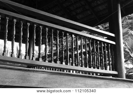 Wooden Bannister Of The Balcony