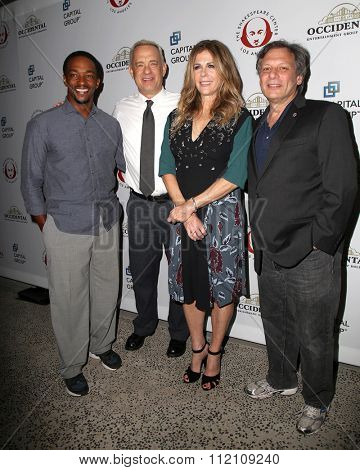 LOS ANGELES - DEC 8:  Anthony Mackie, Tom Hanks, Rita Wilson, Ben Donenberg at the 25th Annual Simply Shakespeare at the Broad Stage on December 8, 2015 in Santa Monica, CA