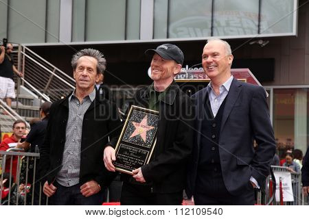 LOS ANGELES - DEC 10:  Brian Grazer, Ron Howard, Michael Keaton at the Ron Howard Star on the Hollywood Walk of Fame at the Hollywood Blvd on December 10, 2015 in Los Angeles, CA