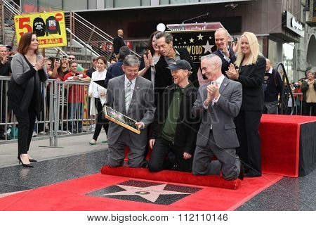 LOS ANGELES - DEC 10:  Ron Howard, Chamber Officials, Brian Grazer, Michael Keaton at the Ron Howard Star on the Hollywood Walk of Fame at the Hollywood Blvd on December 10, 2015 in Los Angeles, CA