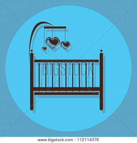 Baby Bed Circle Icon With Shadow