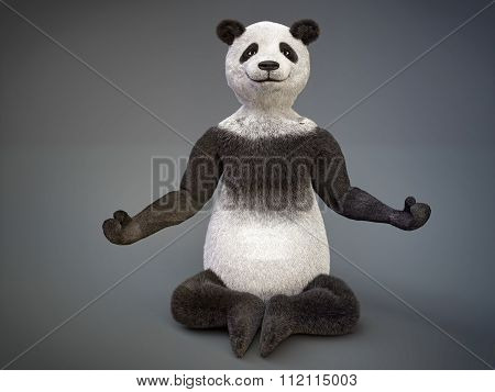 Personage Character Animal Bear Panda Sat Lotus Pose Meditation