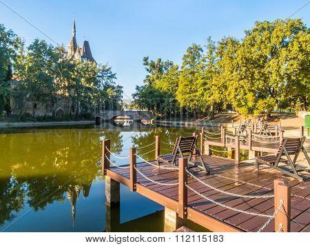 Mooring and pond in Varosliget park, Budapest, Hungary poster