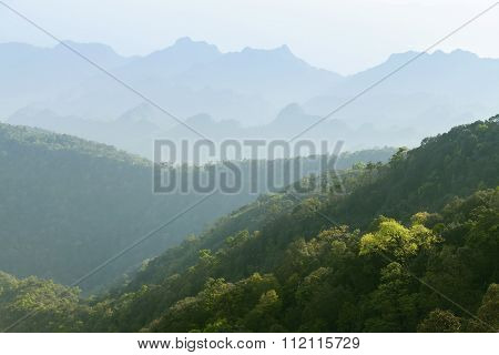 The Simple Layers Of Mountain, Green Nature Background.