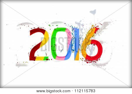 Happy new year 2016 on white background with Liquefy effect