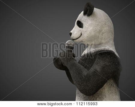 Personage Character Animal Bear Panda  Sing Song Microphone