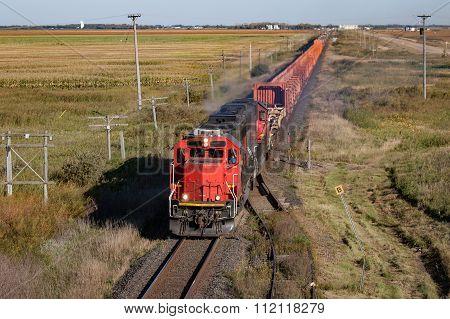 Train Crossing The Prairie