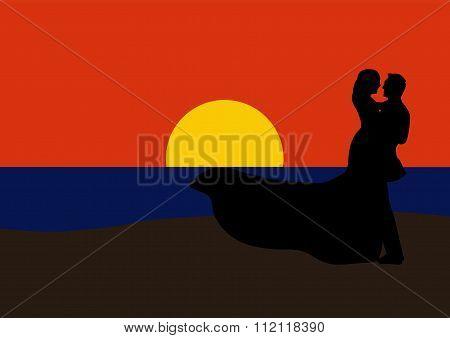 Romantic Couple Dancing At Sunset