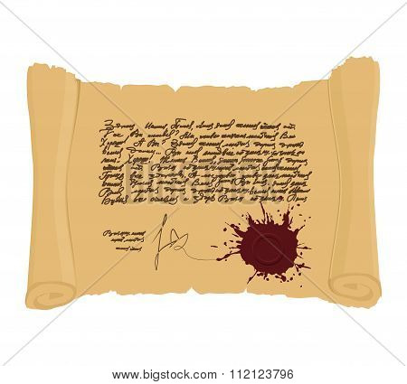 Ancient Scroll With  Seal. Indefinite Abstract Text In Vintage Style. Historical Decree On Ancient P