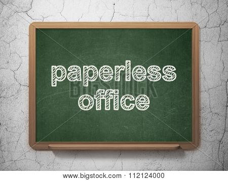 Finance concept: Paperless Office on chalkboard background